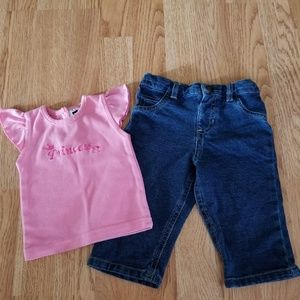 Other - DG Baby Princess Tee/Denim Jeans Outfit